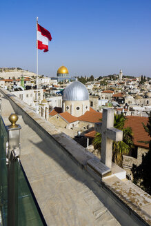 Israel, Jerusalem, View from roof of the Austrian hospice to Armenian Catholic Church, Our Lady of Sorrows Church - WEF000359