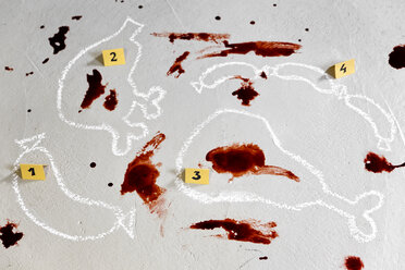 Crime scene butcher's shop with blood drops and contours of meat products - MIDF000481