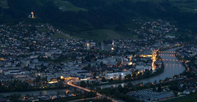 Austria, Tyrol, Schwaz district, View to Schwaz in the evening - MKFF000220