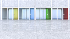3D Rendring, modern architecture, offices, colorful glass doors, courtyard - UWF000546