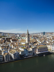 Switzerland, Zurich, Old town, View to Limmat river, St. Peter's Church and Prime Tower - KRPF001522