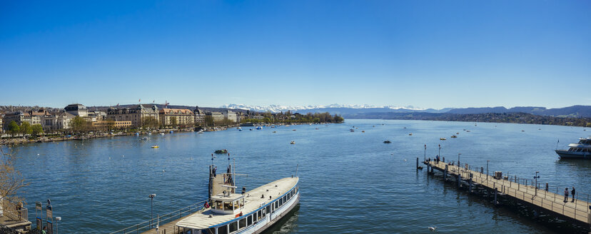 Switzerland, Zurich, Cityscape, Lake Zurich, Alps in the background, Panorama - KRPF001529