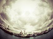Germany, Hamburg, Port of Hamburg, harbor facility, dramatic sky, fisheye - KRP001439