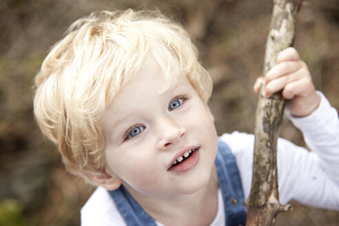 Portrait of little boy with branch - MFRF000237