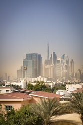 United Arab Emirates, Dubai, Skyline of Downtown Dubai in light sandstorm - NKF000264