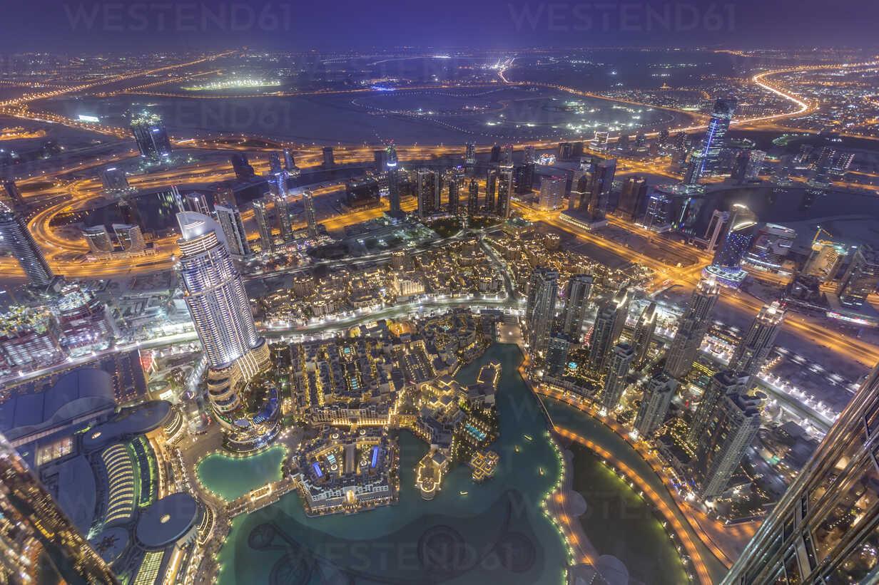 United Arab Emirates, Dubai, aerial view from the Burj Khalifa over Burj Khalifa Lake, Souk Al Bahar and the Dubai Creek at night - NKF000265 - Stefan Kunert/Westend61