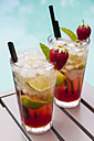 Strawberry Caipirinha with fresh mint and strawberry in glasses - JUNF000356
