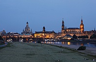 Germany, Saxony, Dresden, Dresden Cathedral and Church of Our Lady in the evening - JTF000684