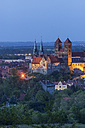 Germany, Quedlinburg, view to castle and St. Servatius church at blue hour - PVCF000453