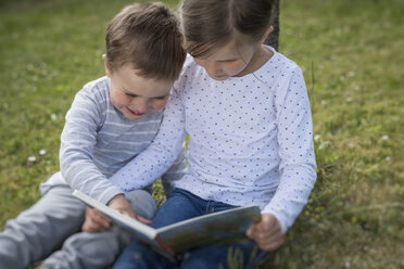 Girl and her little brother sitting on a meadow with a picture book - PAF001458