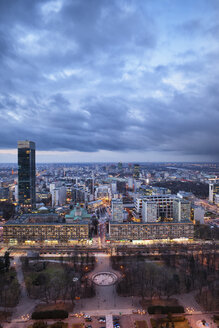 Poland, Warsaw, view to the city centre at evening twilight - ABOF000029