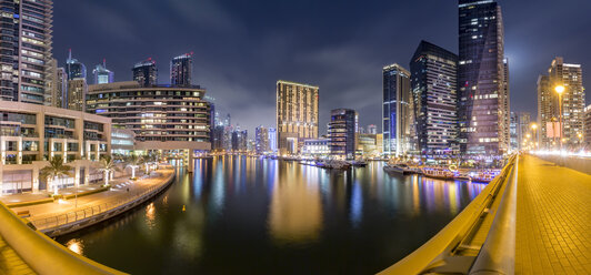 UAE, Dubai, panoramic view of Dubai Marina at night - NKF000292