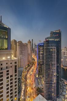UAE, Dubai, view to street at Dubai Marina at evening twilight - NKF000295