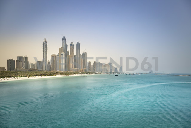 UAE, Dubai, skyline of Dubai Marina with Persian Gulf Coast - NKF000300