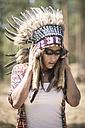 Young woman masquerade as an Indian - ASCF000201