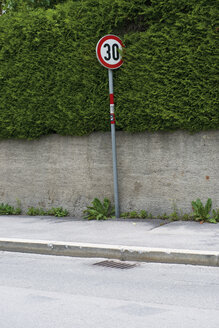 Road sign besides a hedge on pavement - VIF000328