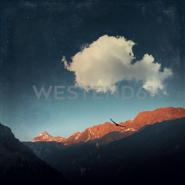 Italy, Lombardy,  Chiesa in Valmalenco, Mountain ridge at sunrise, digitally manipulated - DWIF000533