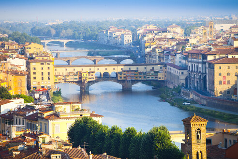 Italy, Florence, cityscape with River Arno and Ponte Vecchio - MAEF010809