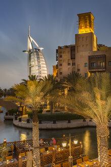 United Arab Emirates, Dubai, Burj al Arab Hotel and Souk Madinat at night - NK000284