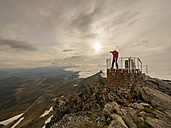 Spain, Pico tres mares, senior man photographing at observation point - LAF001428