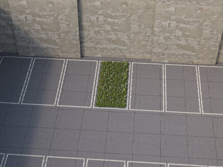 Piece of nature between parking lots, 3D Rendering - UWF000559