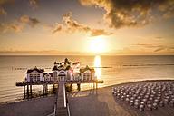 Germany, Ruegen, Sellin, sunset at pier - PUF000379
