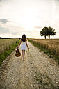 Young woman with guitar on field path, in the evening - SARF002040