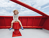 Little girl having fun on a red ferry - IPF000222