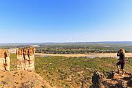Zimbabwe, Masvingo, Gonarezhou National Park, woman looking at Runde River and Chilojo Cliffs - FOF008217