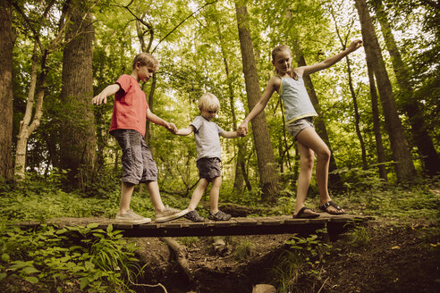 Three children balancing along a small bridge in forest - MFF001931