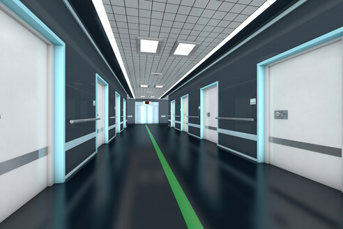Corridor with guidance system in a modern hospital, 3D Rendering - SPCF000060