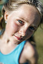 Portrait of blond girl with freckles - MGOF000344