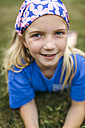 Portrait of little blond girl wearing - MGOF000348