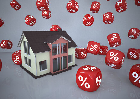 Residential house surrounded by percentage sign cubes, 3d illustration - ALF000564