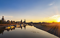Germany, Saxony,  Dresden, historic old town and Elbe river at sunset - HSIF000370
