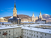 Austria, Salzburg, View of Collegiate Church St. Peter, Franciscan Church, College Church and Salzburg Cathedral in old town - AMF004116