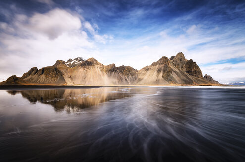 Iceland, Stokksnes, Vestrahorn Mountains, black sand beach - SMAF000346