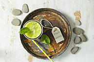 Glass of Spinach Smoothie on rusty tray - ODF001149