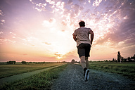 Rear view of man jogging at sunset - PUF000388