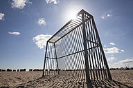 Germany, Luebeck Travemuende, goal on the beach at backlight - WIF002249