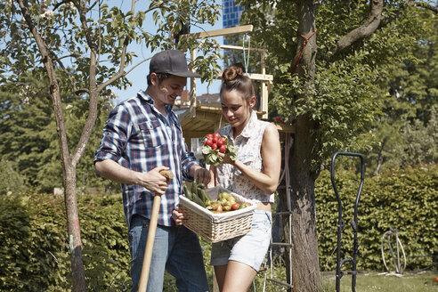 Smiling couple in garden with fresh vegetable - RHF000987