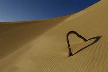 Australia, Eyre Peninsula, Port Lincoln, branch in dune shaping a heart - TOVF000007