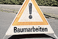 Germany, warning sign on a road - MEMF000882
