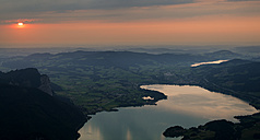 Austria, Salzkammergut, Lakes Mondsee and Irrsee at sunset - MKFF000252