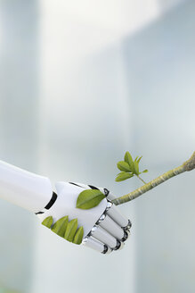 Robot hand and twig shaking hands, 3D Rendering - AHUF000027