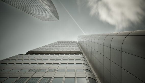 Germany, Hesse, Frankfurt, Silver tower, low angle view - MPAF000023