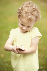 Little girl watching ladybird on her hand - MFRF000314