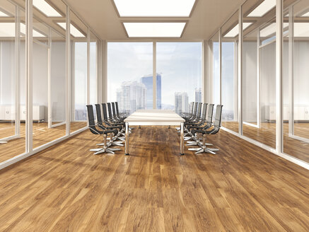 Modern conference room with parquet, 3D Rendering - UWF000579