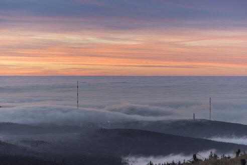Germany, Saxony-Anhalt, Harz National Park, atmospheric inversion  in the evening - PVCF000506