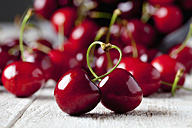 Stems of two cherries building a heart - CSF025982